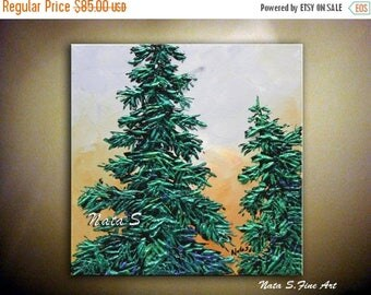 Summer SALE Modern Pine Tree Painting Abstract Contemporary Artwork Impasto Palette Knife Textured Pine Tree Art Painting  Modern Wall Decor