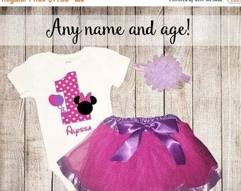 ON SALE Birthday Mouse 1st Birthday Pink Personalized Shirt Tutu Headband Set