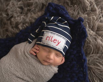 Personalized Baby Hat - personalized gifts- baby monogramed hat- Baby Boy Hat- newborn photo prop - baby hats -baby name hat