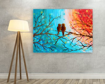 Teal & Orange Love Birds in a Tree Canvas Print - Large Teal Wall Art - Large Teal Canvas Picture of Love Birds Watching the Sunset