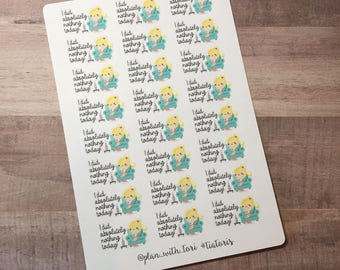 Functional Planner Stickers | Lazy Day, I did nothing today