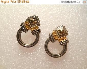 50% Off Sale Piscitelli Signed Vintage Two Tone Art Deco Look Pierced Earrings