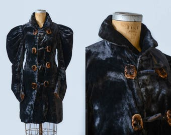 Victorian Black Mohair Velvet & Fur Fitted Toggle Coat Evening Jacket