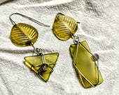Frosted glass ear rings, unusual asymmetrical ear rings sterling wire wrapped. Avocado greenery leaf with geometric shapes gifts under 50