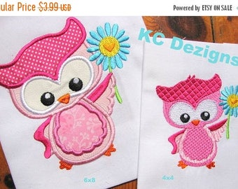 ON SALE Spring Owl With Flower Machine Applique Embroidery Design