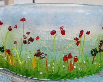Made to Order Countryside Tea Light Wave Fused Glass
