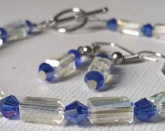 Crystal Yellow and Blue Swarovski Crystal Bracelet and Earrings Set with Sterling Silver findings