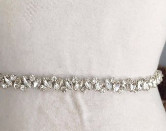 Thin rhinestone and crystal beaded lace trim for wedding belt, bridal sash, wedding gown straps ,bridesmaids belt,rhinestone hairband