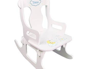 Personalized White Puzzle Rocking Chair with Moon and Stars Design-puzz-whi-243