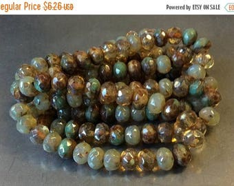 ON SALE Czech Rondelle Bead 5mm x 7mm Champagne Opal Brown and Green Turquoise Picasso Mix 1 Strand