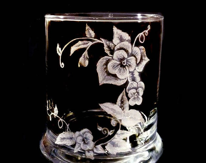 OOAK Hand engraved pencil cup , large hand engraved pansy , teacher gift  , desk , office executive gift Personalized gift