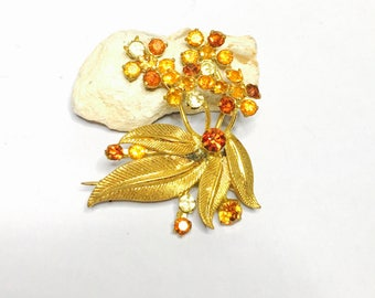 Vintage flower Brooch, crystals, Gold Tone, made in Austria, Clearance Sale, Item No. B039