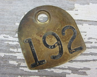 Number 192 Tag Antique Cattle Tag #192 Large Vintage Brass Tag Cow Tag Industrial Tag House Number Apartment Lucky Numbers Keychain Tag A