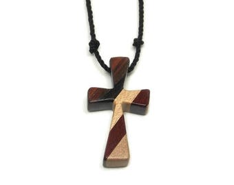 Men's Cross Necklace, Cross Pendant Necklace, Mens Jewelry Cross, Religious Pendant, Wood Cross Pendant, Maple, Walnut, Ebony & Bloodwood