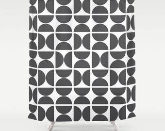 36 colours, Large OR Small Circles Pattern Shower Curtain, Scandinavian style, Charcoal black geometric decor, Nordic style bathroom decor