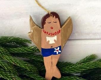 Hawaiian Angel Ornament - Surfer Christmas Ornament - Kid's Room Decor -  hand painted - collectible - wood Holiday decor - 70s Christmas