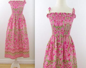 SALE Smocked Festival Sundress - Vintage Printed Summer Dress in Hot Pink and Lime Green - Small Medium