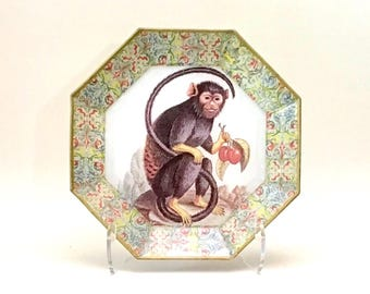 Vintage Octagonal Decoupaged Glass Monkey Plate, Florentine Border, Moonlighting Interiors