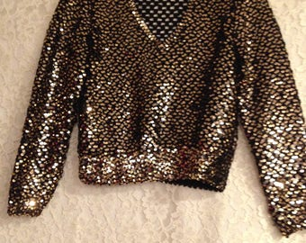 Vintage Black & Gold Sequins Dressy Sweater - Beautifully Made