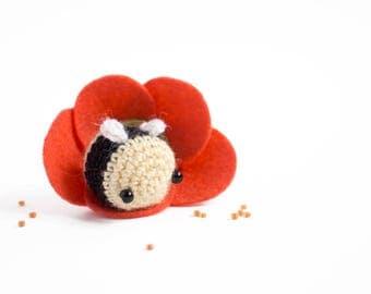 miniature bee amigurumi - crochet bee plush with felt flower house