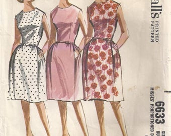 Sleeveless Lined Dress With Dart Fitted Bodice And Three Gore Skirt Back Zipper Plus Size 18 Used Vintage Sewing Pattern 1962 McCall's 6633