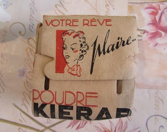 Vintage French unopened face powder in original box.  Poudre Kierar.  Make up. Cosmetics