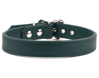 Forest Green Leather Dog Collar