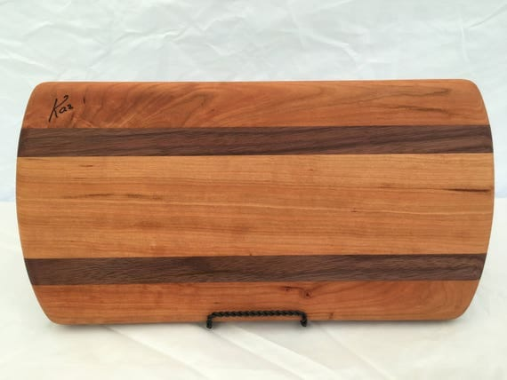 Cheese board made from cherry and walnut woods