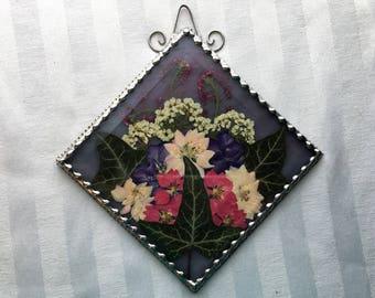 Stained Glass Suncatcher|Pressed Flower Art|Diamond Shaped Suncatcher|OOAK|Art & Collectibles|Glass Art|Suncatchers|Handcrafted|Made in USA