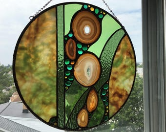 Stained Glass Art Panel|Round Stained Glass Panel with Natural  Agate|Gold and Green Glass|Abstract|Modern|OOAK|Handcrafted|Made in USA