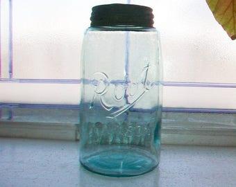 Blue Root Mason Jar Quart with Zinc Lid Antique 1900s