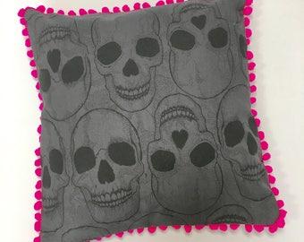 Skull and Neon Pink Cushion, Pillow with Pom Poms, Grey Skulls, pink pom pom, skull art