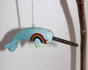 Enchanted RAINBOW NARWHAL Ornament