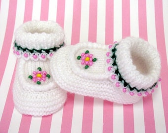 Pink Bead Rose Baby Moccasin Booties