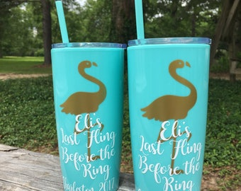 Bachelorette Party Cups / Yeti like tumbler with lid & straw / Aloha Beaches / Bridesmaids / Personalized Cups / Last Fling / Flamingo