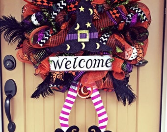 Witch Welcome Deco Mesh Halloween Wreath