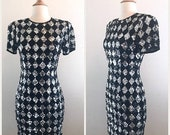 CLEARANCE Sequin Cocktail Dress by AJ Bari - Black and Silver Diamond Harlequin Print - Extra Sparkly Size 2 Small