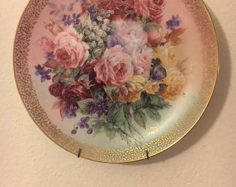 W.S. George, Plate, Collectible, Decorative Floral Plate, Rose Fantasy, Lena Liu, Symphony of Shimmering Beauty, signed