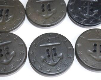 6 pieces  vintage button Anchors Buttons, black/grey