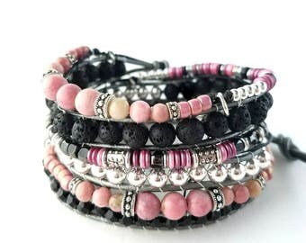 Leather Bracelet for Women, Wrap Bracelet, Beaded Leather Wrap, Gift for Her, Diffuser Bracelet, Wife Pink Bracelet