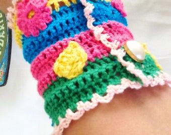Colorful handmade crochet cuff bracelet , gypsy crochet cuff , bohemian crochet bracelet with flower accent