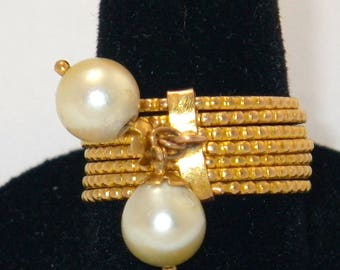18K Gold and Pearl stacking rings size 6.5