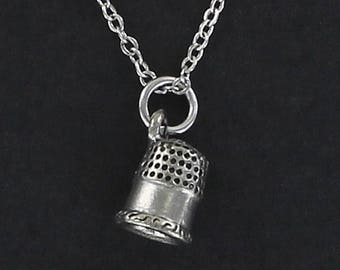 THIMBLE Necklace - Pewter Charm on a FREE Plated Chain