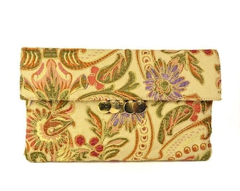 50% OFF Vintage Italian Tapestry Shoulder Purse // Doro Gold Chain Embroidered Floral Fabric Convertible Clutch Bag // Made in Italy
