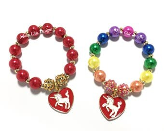 Toddler or Girls Small Beaded Unicorn Charm Bracelet - Rainbow Unicorn Bracelet - Red Unicorn Heart Bracelet - Valentines Unicorn Bracelet