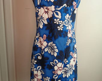 Red, White and Blue Hawaiin Floral Spaghetti Strap Dress, Size XL Female, An Aloha Republic Label, Made in Hawaii in Very Good Condition