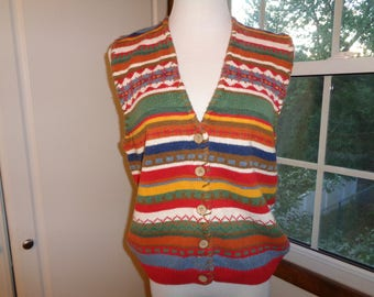 Vintage Southwestern Style Machine Woven Knit Ramie and Cotton Vest in Good Condition, Size M Female with hand sewn whip stitched edge trim