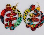Jumbo Gye Nyame Fabric Covered Earrings
