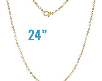 "100 Gold Necklaces - WHOLESALE - Cable Chains - 24"" Long - Ships IMMEDIATELY from California - CH536d"