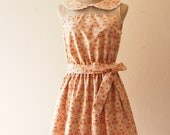 Petite Floral Dress Peter Pan Collar Dress Summer Fashion Retro Vintage Cotton Dress Beige Dress Graduation dress